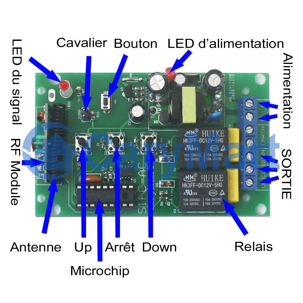 Kit metteur r cepteur sans fil commande moteur 220v mode momentan e - Emetteur recepteur porte de garage ...
