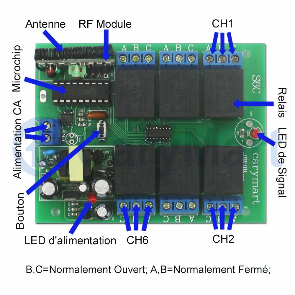 r u00e9cepteur sans fil universel 220v 10a 6 canaux 6 fonctions